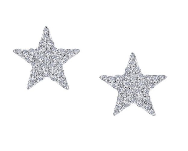 Star Post Simulated Diamond Earrings E0361CLP - Jewelry Works