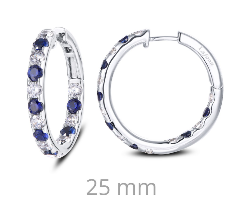 Lab Grown Sapphire and Simulated Diamond Inside Out Hoop Earrings E0363CSP - Jewelry Works