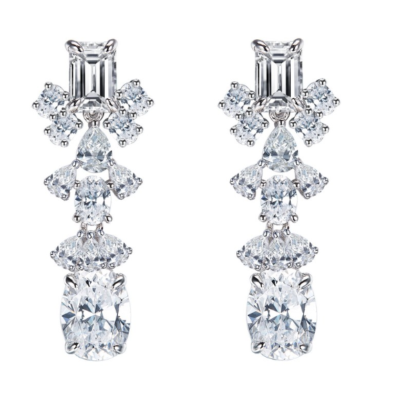 Simulated Diamond Statement Earrings E0369CLP