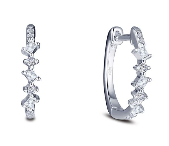 Simulated Diamond Baguette and Round Hoop Earrings E0383CLP - Jewelry Works