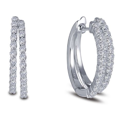 Douple Hoop Simulated Diamond Earrings E0385CLP - Jewelry Works