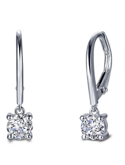 Classic Four Prong Solitaire Leverback Simulated Diamond Earrings E0386CLP - Jewelry Works