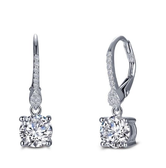 Accented Four Prong Solitaire Leverback Simulated Diamond Earrings E0387CLP - Jewelry Works