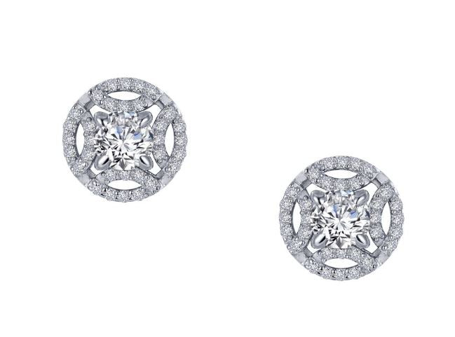 Vintage Style Button Simulated Diamond Earrings E0391CLP - Jewelry Works