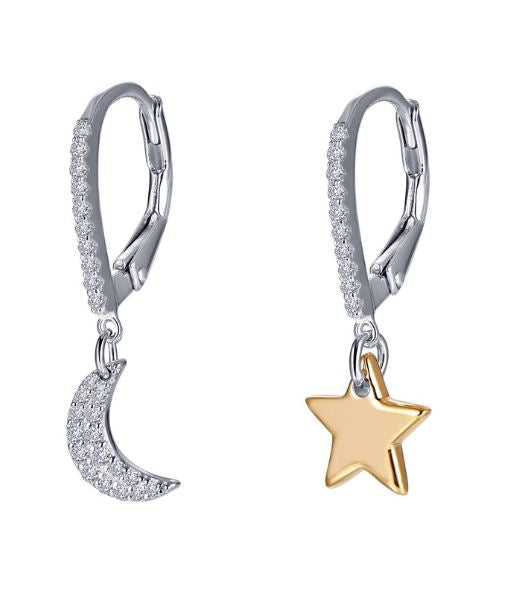 Star Moon Simulated Diamond Earrings E0400CLT - Jewelry Works
