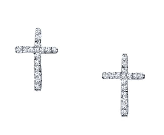 Cross Studs Simulated Diamond Earrings E2003CLP - Jewelry Works
