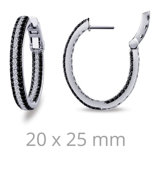 Black and White Simulated Diamond Earrings E3028CBP
