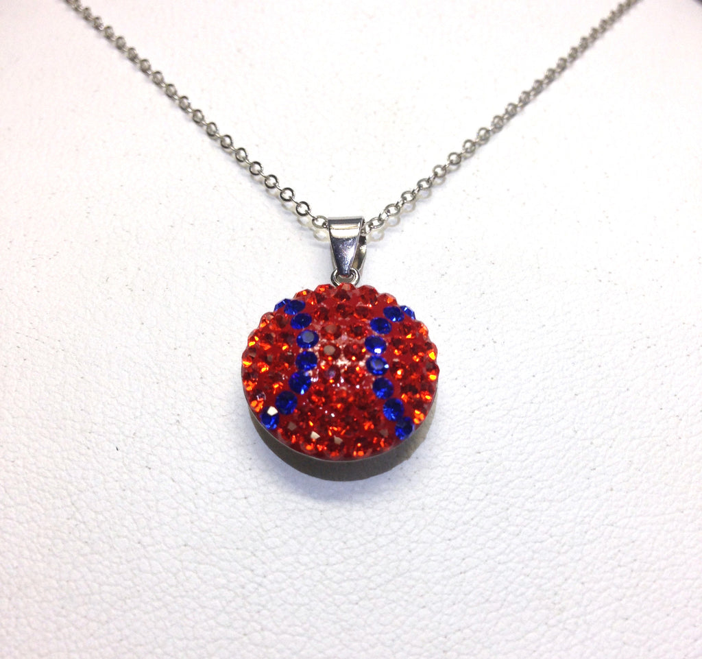 Orange & Blue Crystal Baseball Pendant - Jewelry Works