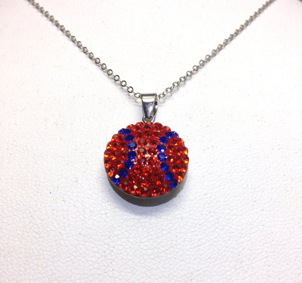Orange & Blue Crystal Baseball Pendant