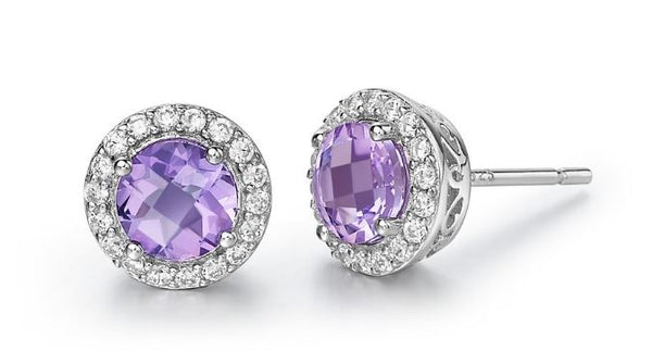 Genuine Amethyst and Simulated Diamond Earrings GE006AMP