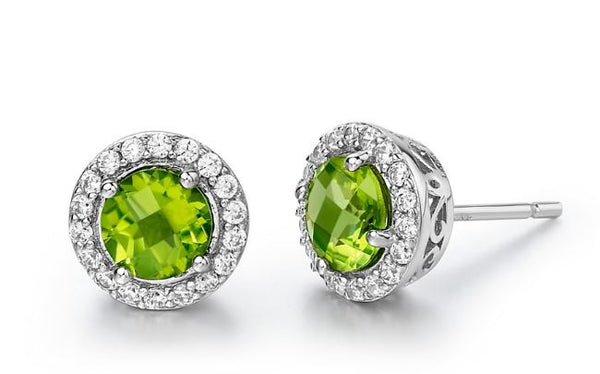 Genuine Peridot and Simulated Diamond Earrings GE006PDP