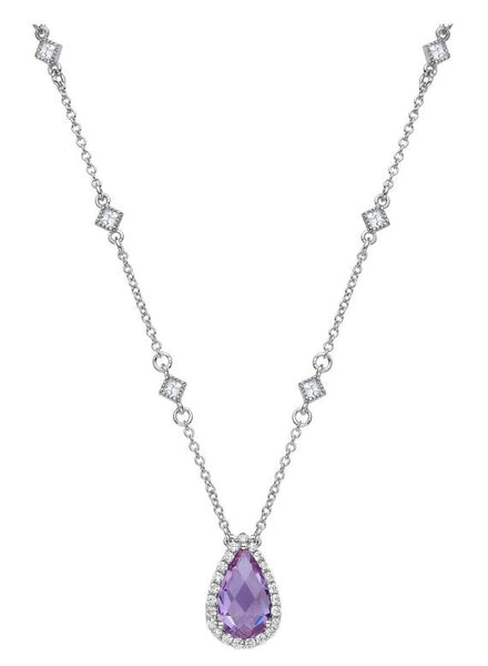 GN001AMP Amethyst Pear Necklace