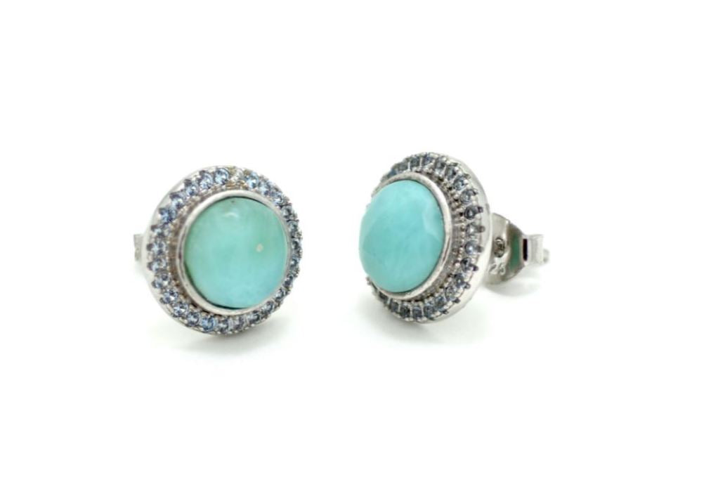 Larimar White Sapphire Accent 8mm Stud Earrings
