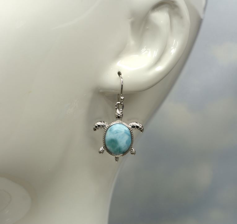 Larimar 10X12mm Oval Sea Turtle Earrings
