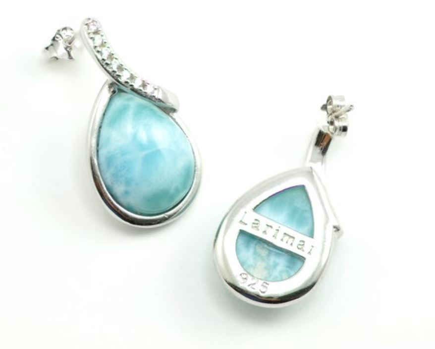 Larimar Earrings 10X14mm Pear Shape with White Sapphire Accents