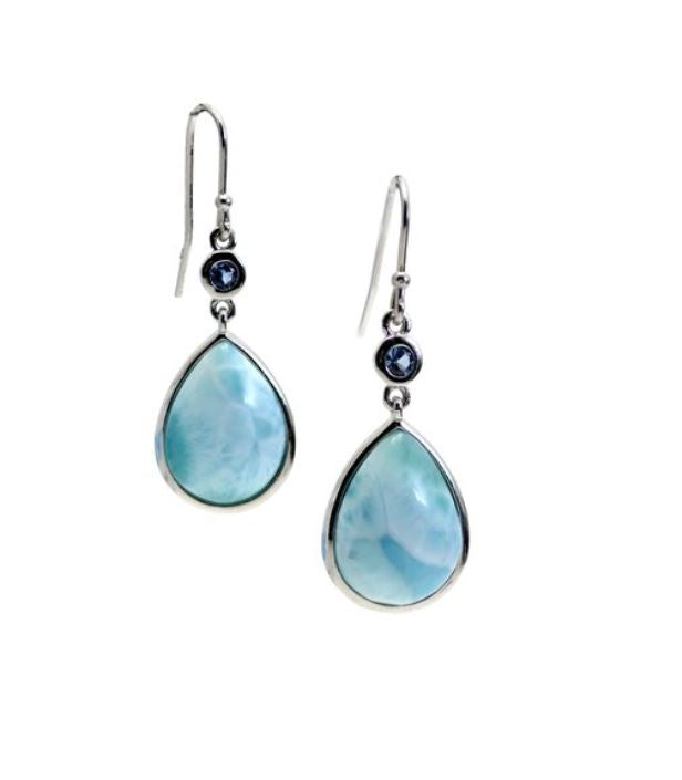 Larimar 14X10mm Pear Shaped Dangle Hook Earring with Aquamarines