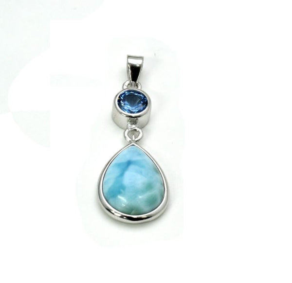 10X14 Larimar Pear Shaped Pendant Aqua Accent