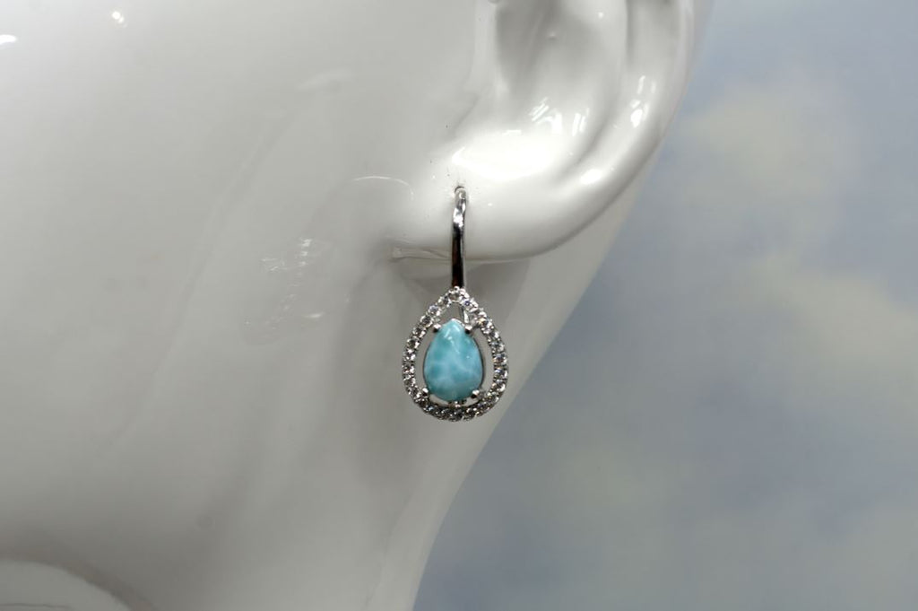 Larimar Pear Shaped Lever-back Earrings with White Sapphire Accents