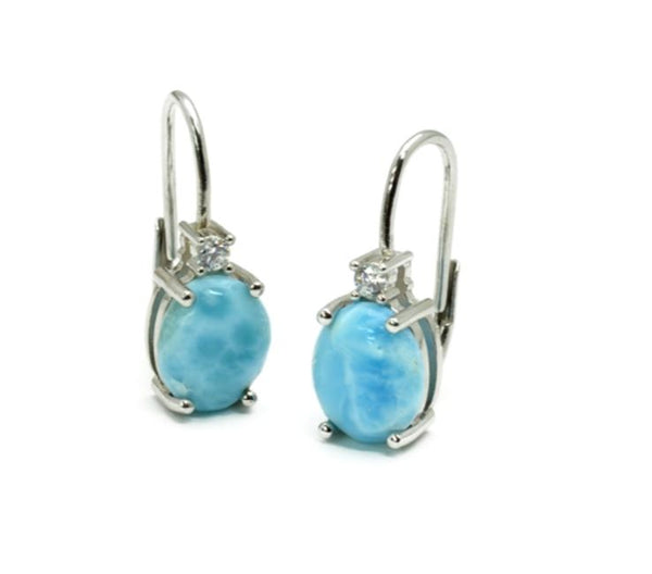 Larimar 10X8mm Lever-back Earrings with White Sapphire Accents