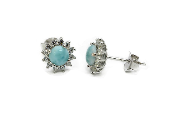 5mm Larimar With White Sapphire Accents Stud Earrings