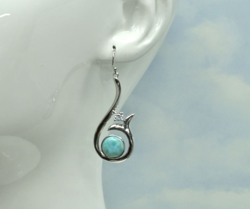 Larimar 10mm Whale Tail Earrings with 4mm White Sapphire