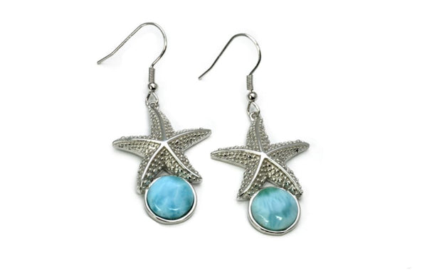 Larimar 10mm Starfish Earrings