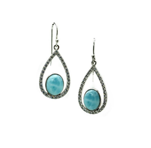 Larimar Earrings With White Sapphire Accents