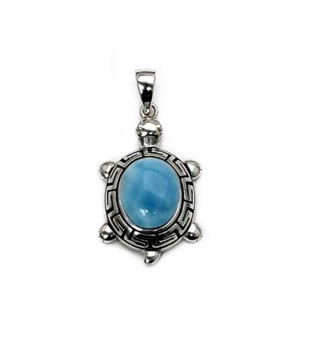 Larimar 10X8mm Greek Key Turtle Pendant