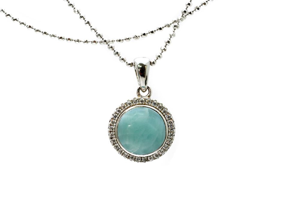 Larimar 8mm With White Sapphire Accents Pendant (Chain Included)