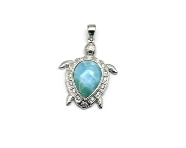 Larimar 10x14mm Sea Turtle Pendant White Sapphire Accent