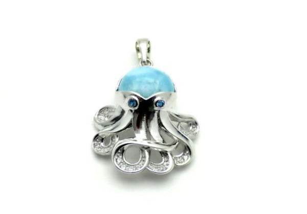 Larimar 10mm Octopus Pendant with White Sapphire