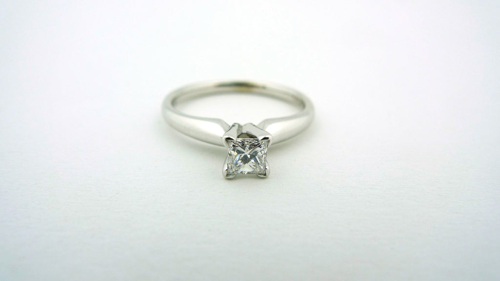 18K White Gold Princess Cut Diamond Solitaire Engagement Ring .29ct GIA Certified - Jewelry Works