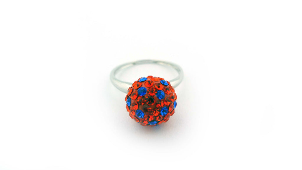 Orange and Blue Sterling Silver Crystal Polka Dot Ring Size Six