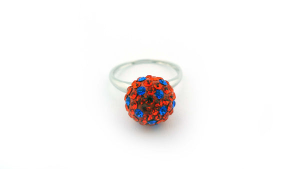 Orange and Blue Sterling Silver Crystal Polka Dot Ring Size Six - Jewelry Works