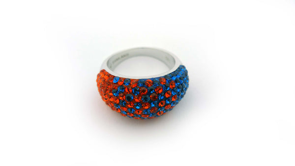 Sterling Silver Swarovski Blue and Orange Domed Ring - Jewelry Works