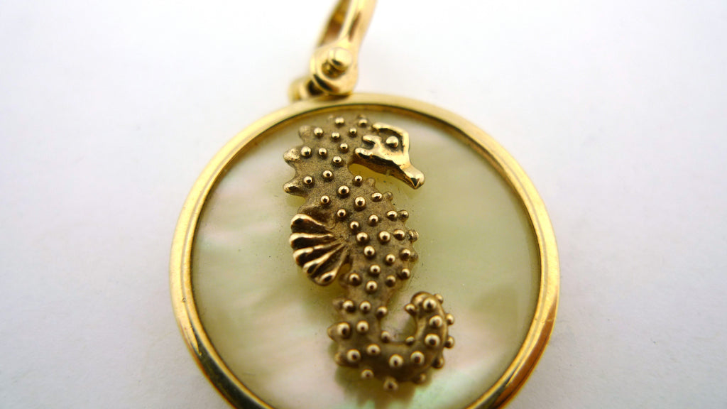 14K Yellow Gold Sea Opal Seahorse Pendant - Jewelry Works
