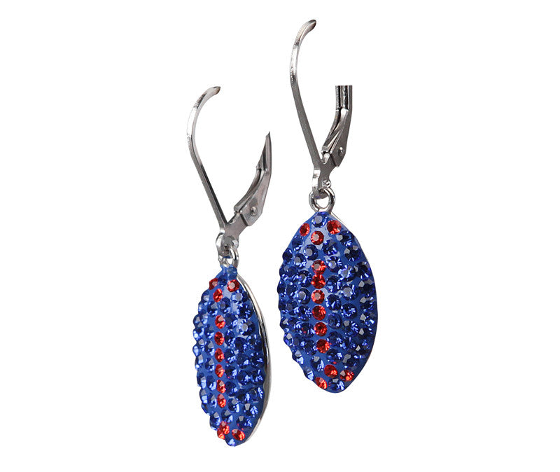 Orange & Blue Crystal Football Dangle Earrings - Jewelry Works
