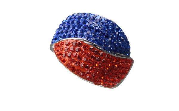 Orange & Blue Large Dome Crystal Ring - Jewelry Works