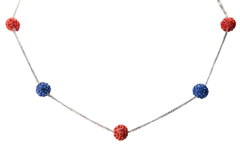 Orange & Blue 5 Ball Crystal Necklace - Jewelry Works