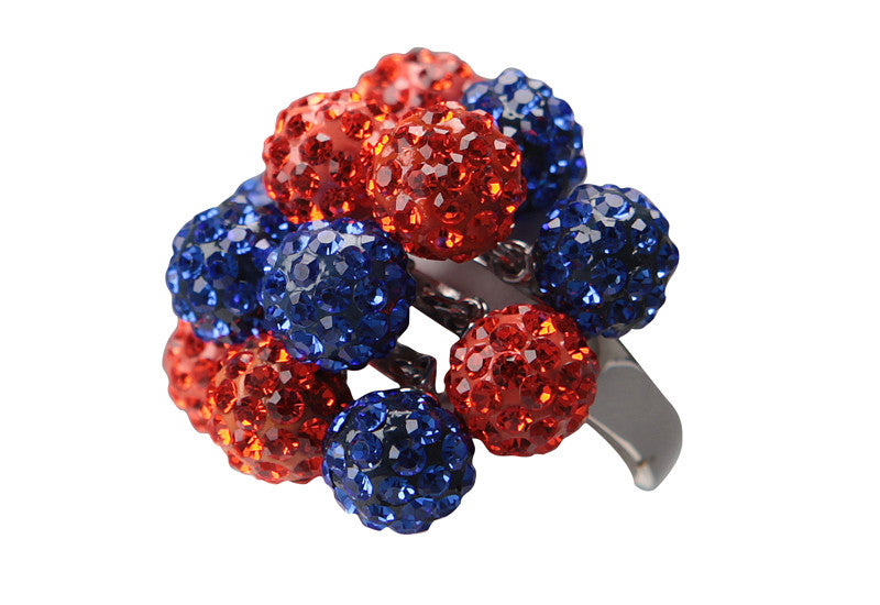 "Orange & Blue ""Pom-Pom"" Crystal Ring - Jewelry Works"