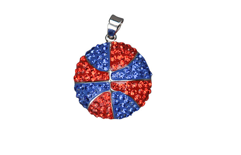 20mm Orange & Blue Crystal Basketball Pendant - Jewelry Works