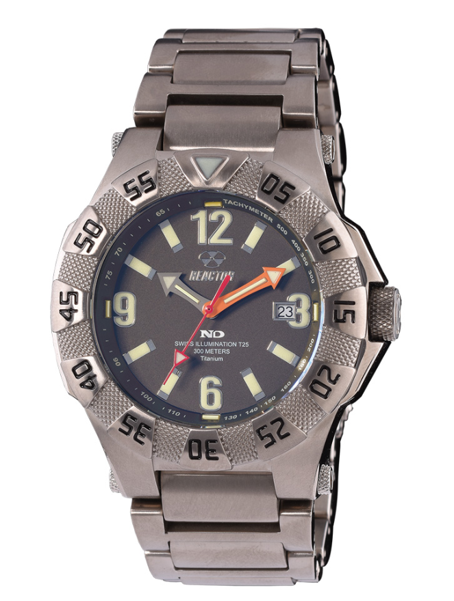 Reactor Men's Gamma 2 Titanium Dive Watch with Never Dark Technology