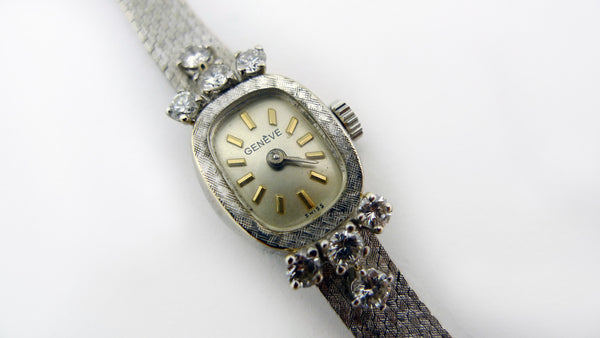 Vintage Ladies White Gold and Diamond Geneve Watch - 14 Karat - Jewelry Works