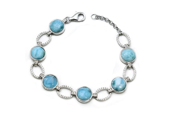 Larimar Six 10mm With White Sapphire Accents Bracelet