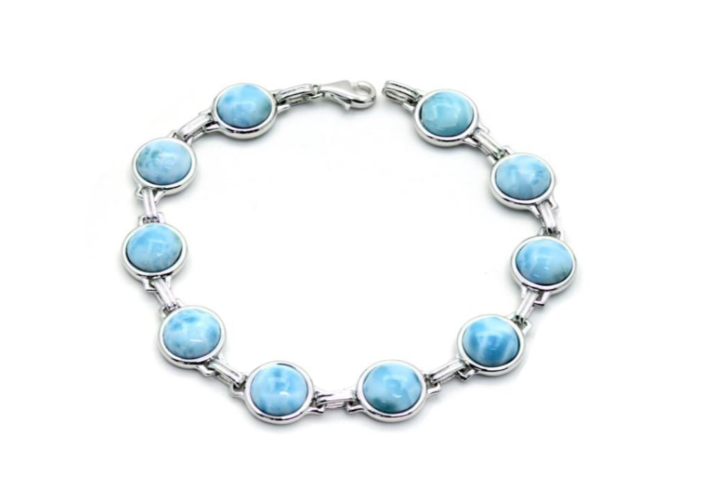 Ten 8mm Larimar Cabochon Bracelet