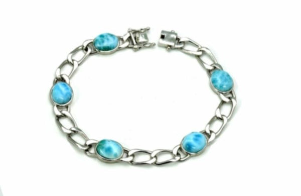 Larimar Five 10X8mm Oval Link Bracelet
