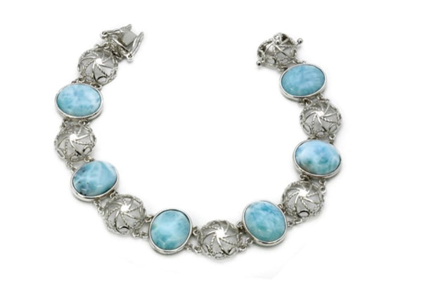 Larimar Six 12X10mm Oval Bracelet