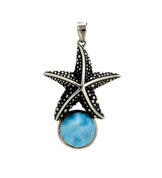 Larimar 10mm Starfish Pendant