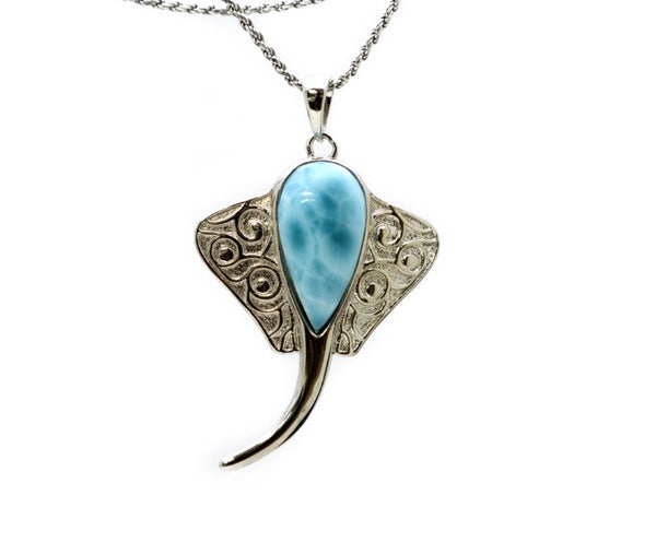 Larimar 16X9mm Stingray Pendant