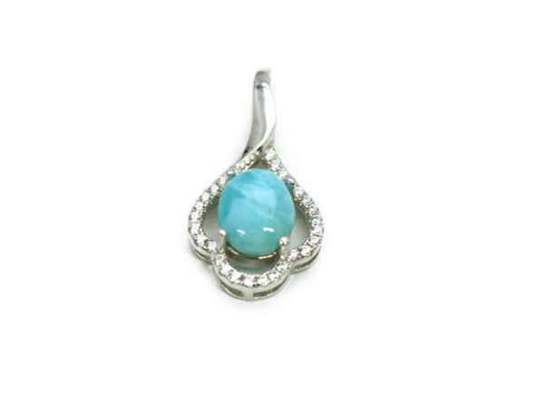 Larimar 18X8mm Pendant With White Sapphire Accents